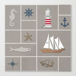 Nautical symbols on sandy background Canvas Print