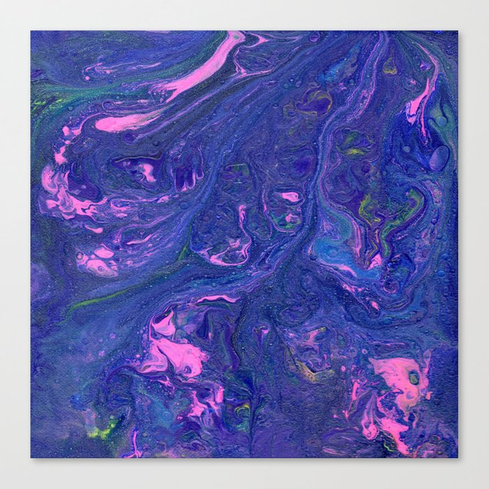Pink Swirl Blue Purple Marble Canvas Print