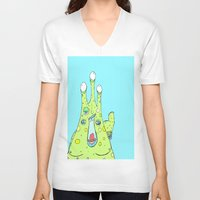 larry V-neck T-shirts featuring Hairy Larry by Motherlyn