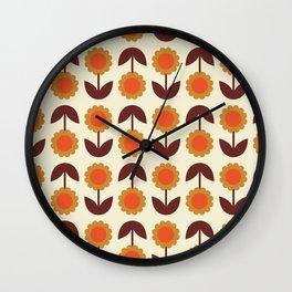 Retro 70s Wallpaper Flowers Wall Clock