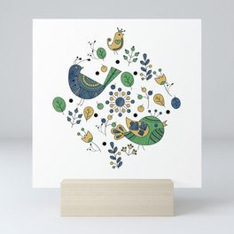 Scandinavian Folklore Blue and Green Birds Mini Art Print