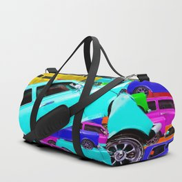 vintage classic car toy pattern background in yellow blue pink green orange Duffle Bag