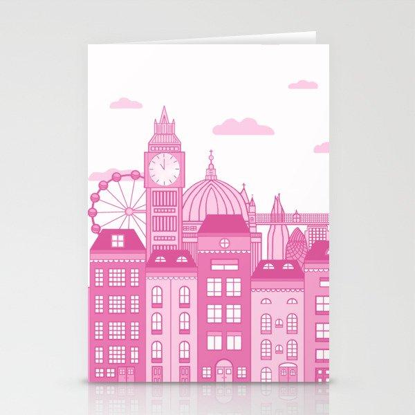London Skyline Pink Stationery Cards