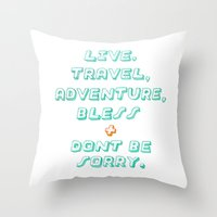 kerouac Throw Pillows featuring Kerouac by Ariel Wilson