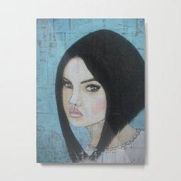 "Mixed Media Grunge Painting on Wood ""Simone"". Metal Print"