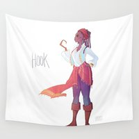 hook Wall Tapestries featuring Captain Hook by Galaxyspeaking