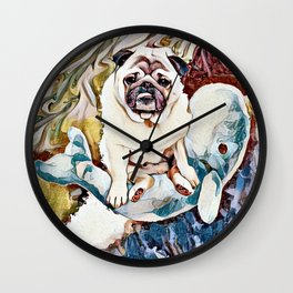 Pug Riding a Narwhal Through Space-Time Wall Clock