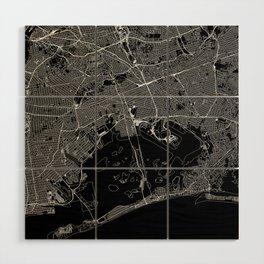 Queens Black Map Wood Wall Art
