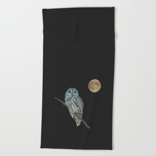 Owl, See the Moon Beach Towel