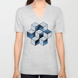 Abstract Blue Cubic Effect Design Unisex V-Neck