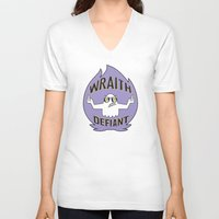 decal V-neck T-shirts featuring Wraith Defiant decal by jordannwitt