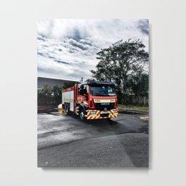 Fire Truck Wash Metal Print