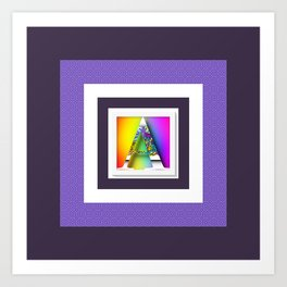 MONOGRAM INITIAL A PURPLE BORDER Art Print