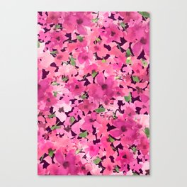 Rosy Pink Field Flowers Canvas Print