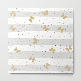 Butterfly Christmas seamless pattern and Gold Confetti on Pastel Gray and White Stripes Background Metal Print