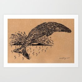 rubbish whale coffee ink Art Print