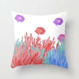 Modern nautical coral teal floral reef colorful fish Throw Pillow