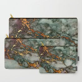 Gray Green Marble Glitter Gold Metallic Foil Style Carry-All Pouch