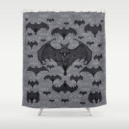 Balinese Bat - Haunted Mansion Damask Shower Curtain