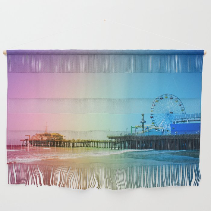 Santa Monica Pier Rainbow Colors Wall Hanging by Christine aka stine1 on Society6