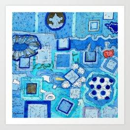 Blue Room with Blue Frames Art Print