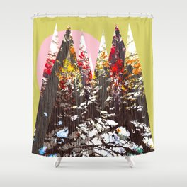 """Trees, Mountains, Flowers, Sun Vector Illustration"" Shower Curtain"