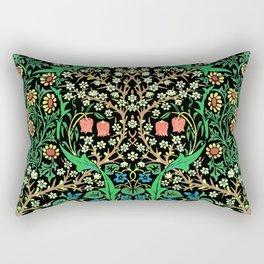William Morris Jacobean Floral, Black Background Rectangular Pillow