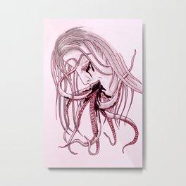 Lady & Octopus Metal Print