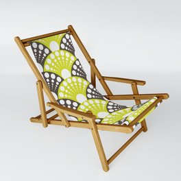 brown and lime art deco inspired fan pattern Sling Chair