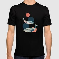 Whales and Polka Dots Mens Fitted Tee LARGE Black