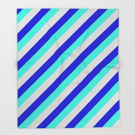 Light Grey, Blue, and Turquoise Colored Lined/Striped Pattern Throw Blanket