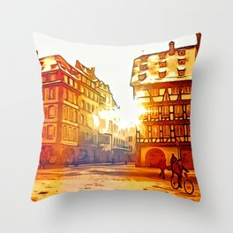 in front of Cathedrale Notre-Dame Throw Pillow