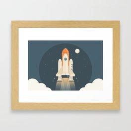 Spaceship Launch Framed Art Print