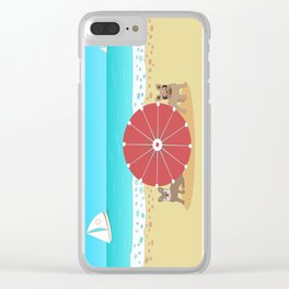 Holiday Romance - Behind the Red Umbrella Clear iPhone Case