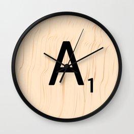 Letter A Scrabble Art Wall Clock