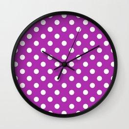 Polka Dots (White & Purple Pattern) Wall Clock