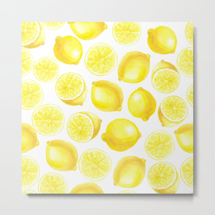 Watercolor lemons design Metal Print