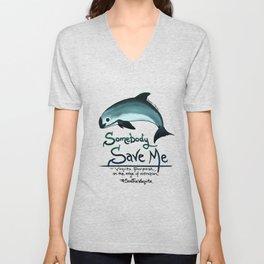 Vaquita Porpoise ~ Save Me ~ Critically endangered species ~ (Art Copyright 2015) Unisex V-Neck