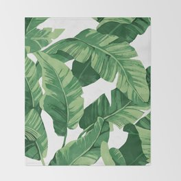 Tropical banana leaves IV Throw Blanket