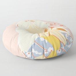 Girl and her Flower Floor Pillow