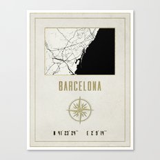 Barcelona - Vintage Map and Location Canvas Print