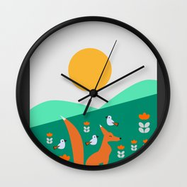 Spring day with fox and birds Wall Clock