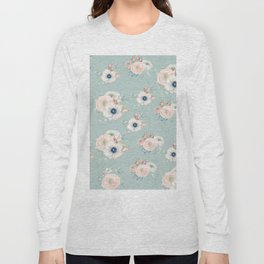 Dog Rose Pattern Mint Long Sleeve T-shirt