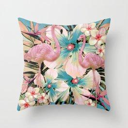 Vintage Flamingo Aloha Throw Pillow