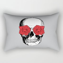 Skull and Roses | Grey and Red Rectangular Pillow