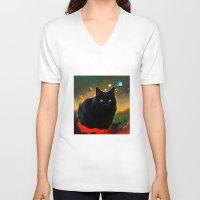 black cat V-neck T-shirts featuring black cat by ururuty