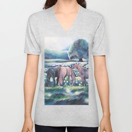Moonlit Summer Night Horses And Fireflies Unisex V-Neck