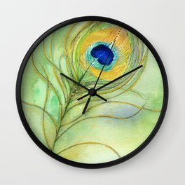 Abstract Peacock Feather Watercolor Wall Clock