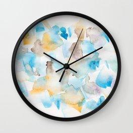 180713 Watercolour Blue Yellow 6 | Watercolor Brush Strokes Wall Clock