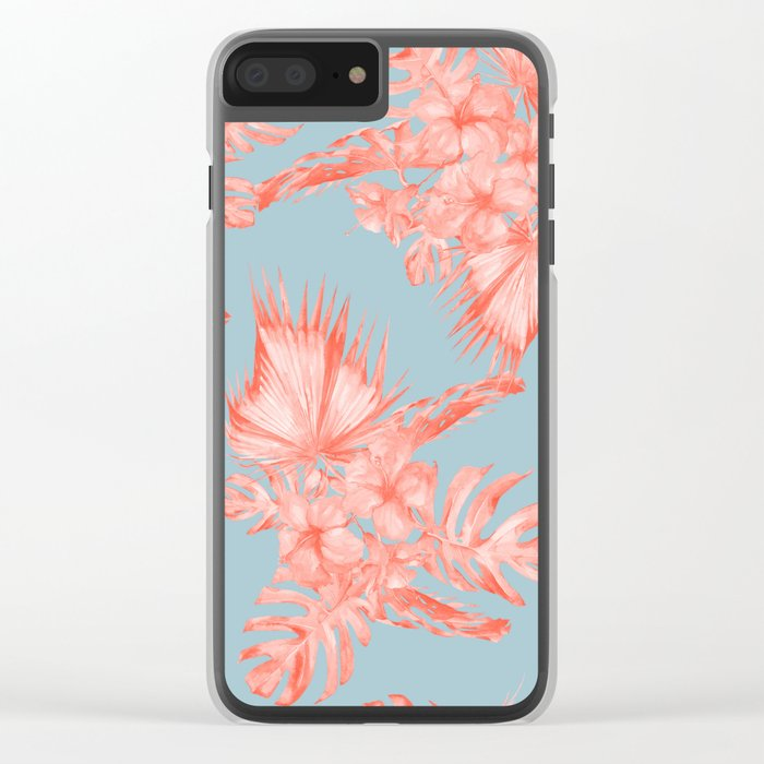 Dreaming of Hawaii Coral on Ocean Blue Clear iPhone Case